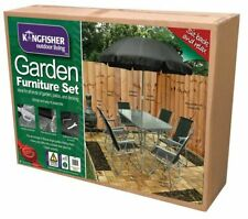 Kingfisher 6 Person Garden Furniture Patio Set With Table and Parasol Glass