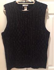 VINTAGE GIANNI VERSACE 1980's Mens Black Cable Knit Vest With Colored Flecks