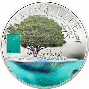 Cook 2015 Life Evolution Nano 10 Dollars Colour Silver Coin,Proof