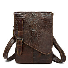 Crocodile Fanny Waist Bag Leather Tablet Sling Messenger Shoulder Bag For Men