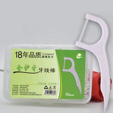 Disposable Plastic Toothpicks Dental Floss Interdental Brush Teeth Clean 50pcs G