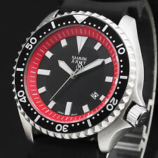 Fashion SHARK ARMY Mens Black Red Silicone Sport Date Display Army Wrist Watch