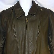 Teknic Black Leather Motorcycle Jacket Flames Lined Size M