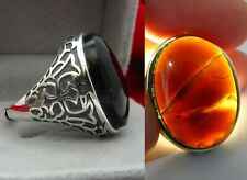 925 silver Yemen black transparent agate ring خاتم عقيق يمني اسود شفاف
