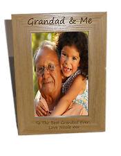 Grandad & Me Wooden Photo Frame 4x6 - Personalise This Frame - Free Engraving