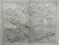 1856 North Germany Original Antique Hand Coloured Map by Augustus Petermann