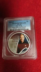 2015-P $1 Tuvalu Star Trek Captain Jean-Luc Picard Silver Coin PCGS PR70