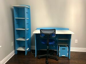 Kids' Complete Desk System Set Baby Blue & White With Bookshelf & Computer Chair