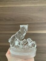 Royal Crysta Rock RCR Glass Figurine of Cat and her Kittens Playing With a Ball