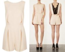 Topshop Nude Black Lace Back Crepe Tailored Playsuit Celebrity Jumpsuit UK12 40