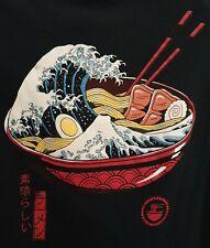 "Threadless T-Shirt ""Great Ramen Wave"" Black, Small."