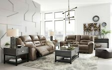 Ashley Furniture Stoneland Fossil Reclining Sofa and Loveseat Living Room Set