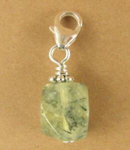 Prehnite clip-on charm. Nugget. Light green. Sterling silver 925. Handmade.
