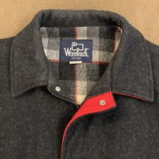 Mens Vtg WOOLRICH Charcoal Gray 100% Wool Plaid Lined Bomber Jacket XL