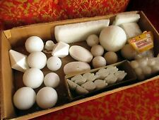 50+ Piece Vtg Lot Crafting Styrofoam Various Foam Forms Balls Ornaments Bells