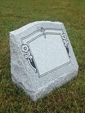 "Granite Headstone Memorial Slant w/ 4 Design Options (L16"" x W8"" x H14"" )"