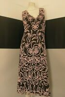 "PHASE EIGHT dress ""slipping cut"" brown/rose fully embroidered pre-loved size euM"