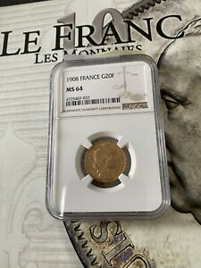 20 francs or marianne coq 1908 NGC