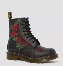 NIB Dr Martens 1460 Vonda 8 Eye Boot US 7 (UK 5) Black Softy T Leather ROSES