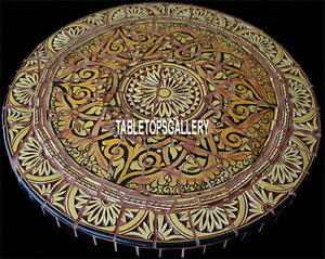 55'' Black Marble Dining Console Table Top Inlaid Design Traditional Work H3949A