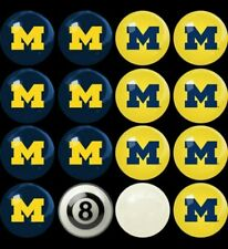 University of Michigan Wolverines Billiard Ball Pool Set ~ 16 Balls ~ Licensed