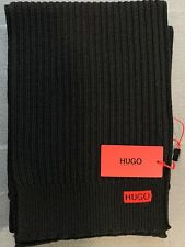 Hugo boss Ribbed scarf in merino wool with logo embroidery. Brand new with tags.
