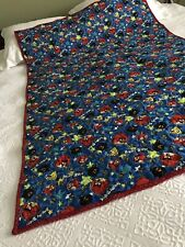 Handmade quilt Angry Birds Blue and red print 39 x 57 red  soft flannel back