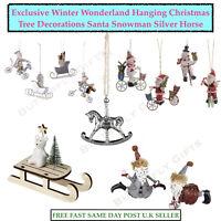 Hanging Christmas Tree Decorations Xmas Santa Snowman Silver Rocking Horse Bear