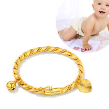Plated Baby Children Jewelry Bracelet Bell Heart Bangle Hand Chains 18K Gold AP