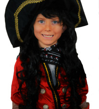 PIRATE BOY LONG BLACK FANCY DRESS WIG. NEXT DAY DISP ( HAT NOT INCLUDED)