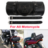 FRONT REAR MOTORCYCLE MOTORBIKE GENUINE LEATHER TOOL ROLL SADDLE BAG BLACK LONG