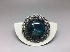 Silver Crescent Moon Brooch 35mm Handmade Glass Cabochon Space Jewellery