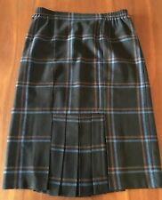 MARGOT Vintage Black Blue Wool Poly Tartan Check Elastic Waist Trumpet Skirt 14