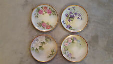 """Set of (4) Vintage Lefton Hand-Painted 1931 Floral China Plates - Signed - 7.5"""""""