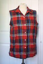 Jones New York Sport 10 Sleeveless 100% Linen Red Plaid Button Front Tank Top