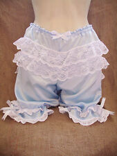 Baby blue satin,white lace bows bloomers!fancy dress,re-enactment,50's,pin-up!