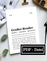 Großer Bruder Definition (DATEI) Kunstdruck Poster A4 Geburtstag Geschenk Typo