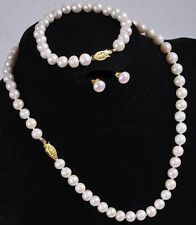 Real Natural 7-8MM White Akoya Cultured Pearl Necklace Bracelet Earring Set