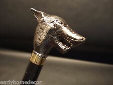 Vintage Antique Style Wolf Fox Head Handle Wolfman Metal Walking Stick Cane