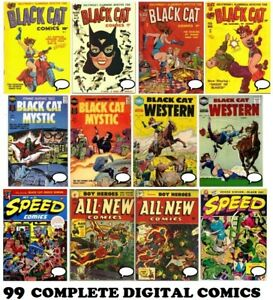 """99 BLACK CAT Comics COMPLETE Collection 1941 on DVD """"Darling of Comics"""" Harvey"""