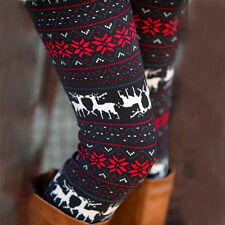 Damen Weihnachten Leggings Thermo Schneeflocke Leggins Winter Warm Strickhose DE