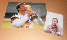 Lothar Matthäus * World CUP Champ 1990* original signed 20x25 cm + AK 10x15 cm