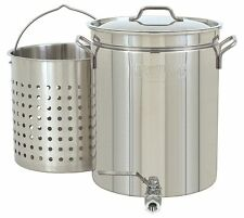 Crawfish Stock Pot 10 Gallon Stainless Steel Cooking Basket Vented Lid X Large G
