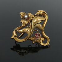 French Art Nouveau 0.09ct Ruby & Natural Pearl 18K Yellow Gold Pendant Brooch