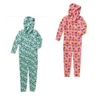 New Girls Plush One Piece PJ Hood Pajama Union Suit SZ 4 5 6 6X Bulldog Cupcakes