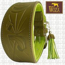 Premium WOZA Greyhound Collar Handmade Full Leather Padded Soft Cow's Napa HM29