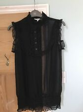 New Look Black Frilled Trim Sleeveless Top Size 8 Vintage Style