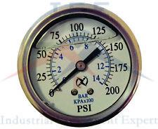 """Liquid Filled 2.5"""" Face 200 PSI Air Pressure Gauge Center Back Mount"""