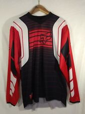 Fox Racing Red White Black Stretch HC Designed Long Sleeve Jersey ~ Size LARGE