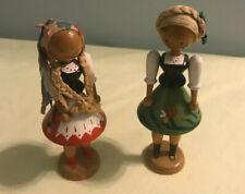 "Vintage Handmade Wooden 5"" Lot of 2 Peg DOLLS Polish Made in POLAND EUC"